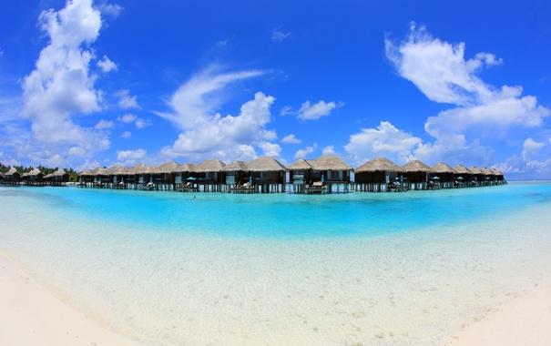Фото обои песок, пляж, небо, природа, мальдивы, бунгало, море