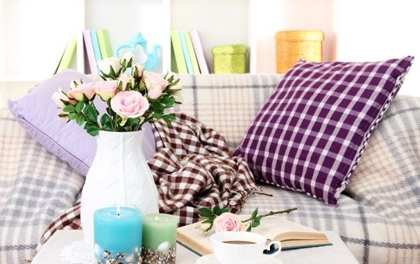 Фото обои цветы, чай, розы, свечи, книга, ваза