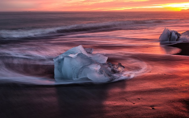 Фото обои закат, берег, лёд, прибой