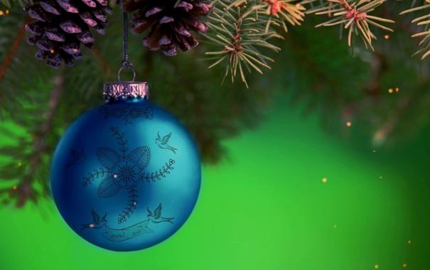 Фото обои узоры, новогодний шар, Ветки ели