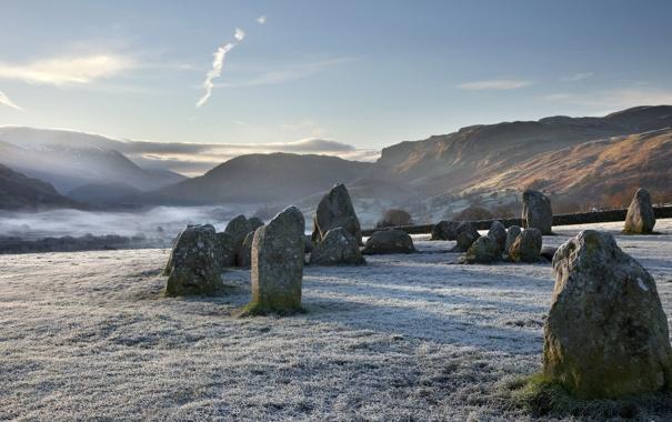 Фото обои горы, камни, утро