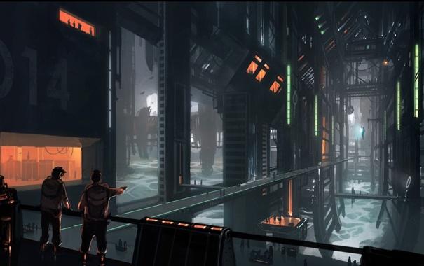 Фото обои будущее, люди, фантастика, сооружение, арт, by andreasrocha, colony interior