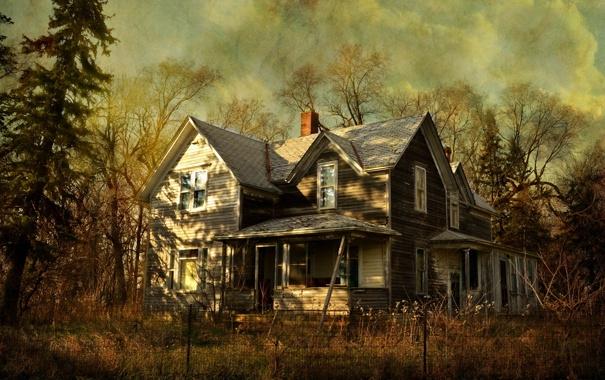 Фото обои дом, стиль, забор