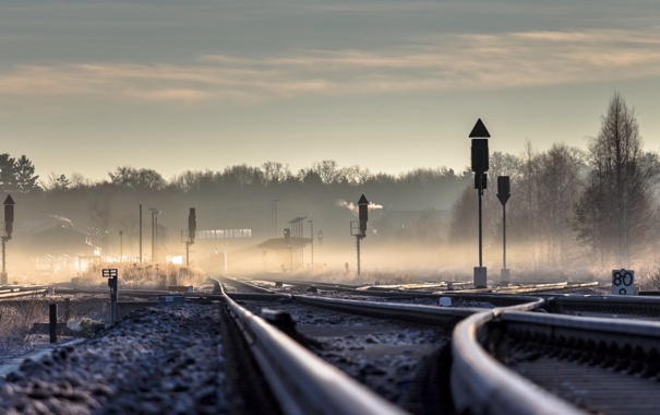 Фото обои перспектива, пейзаж, железная дорога, туман