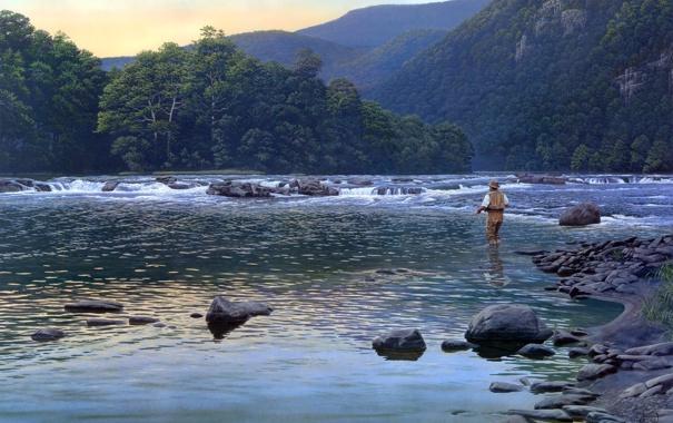 Фото обои деревья, горы, природа, рыбак, живопись, горная река, Al Agnew