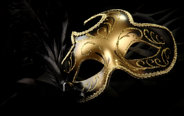 Фото обои gold, feathers, bright, carnival mask