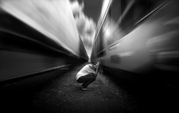 Фото обои tren, grito, vias, noooo...