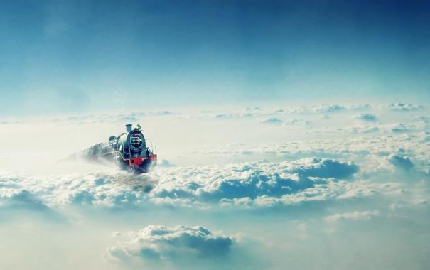 Фото обои небо, облака, поезд