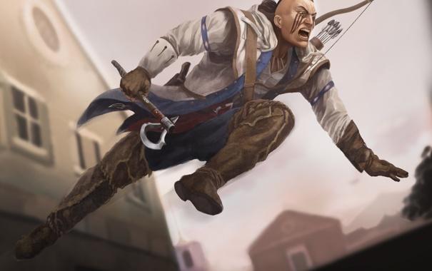 Фото обои оружие, прыжок, арт, мужчина, раскраска, Assassins Creed 3, Connor