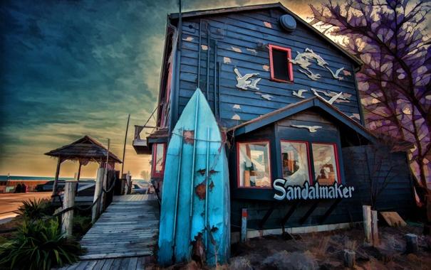 Фото обои пейзаж, дом, набережная, магазин, доска для серфинга
