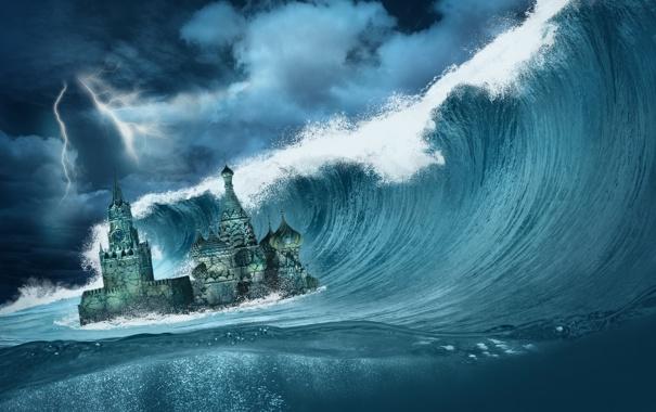 Фото обои катастрофа, ocean, Kremlin, Апокалипсис, sea, fantastic, Armageddon
