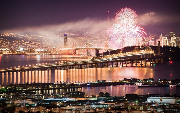 Фото обои ночь, мост, огни, города, праздник, Сан-Франциско, фейерверк