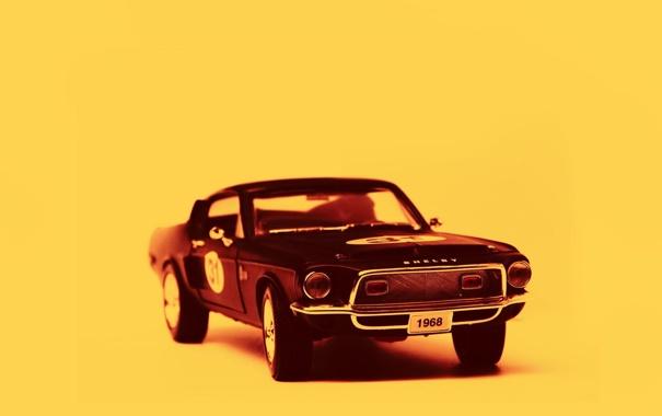 Фото обои машина, желтый, фон, Shelby, 1968, Ford Mustang