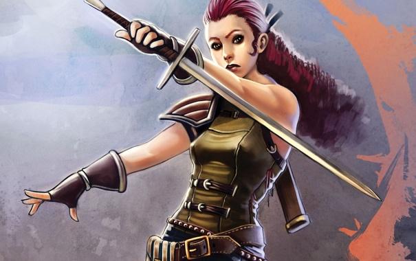 Фото обои девушка, оружие, меч, арт, клинок