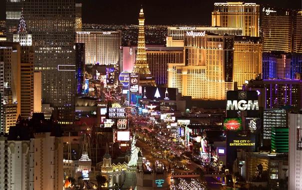 Фото обои Las Vegas, казино, вечер, огни, Лас Вегас, город, отели