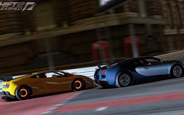 Фото обои гонка, bugatti veyron, суперкары, Lamborghini Gallardo, need for speed shift 2
