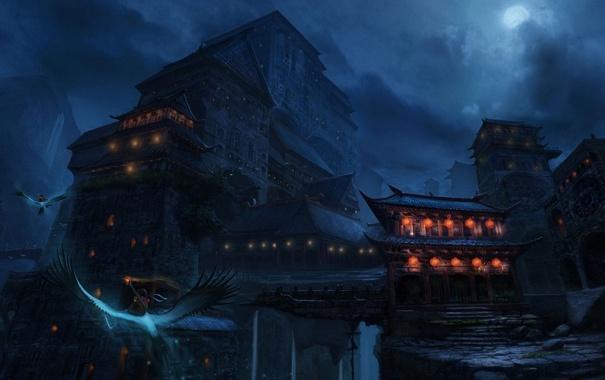 Фото обои полет, горы, птицы, ночь, луна, азия, здания