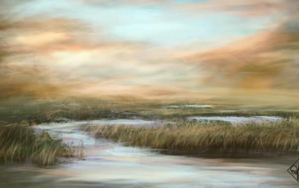 Фото обои трава, вода, природа, болото, арт