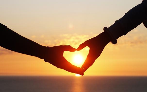 Фото обои любовь, закат, сердце, love, heart, sunset, romantic