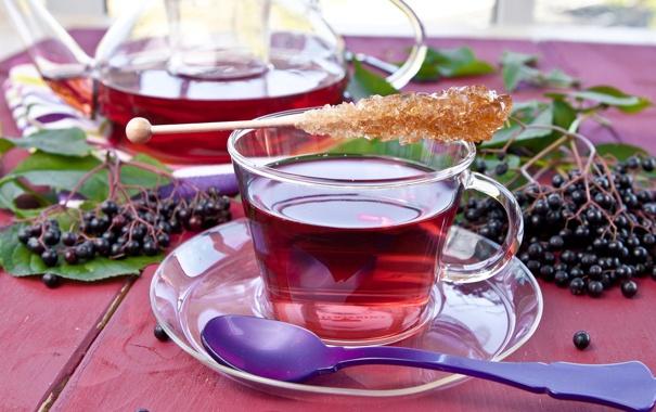 Фото обои листья, ягоды, чай, чайник, ложка, чашка, посуда