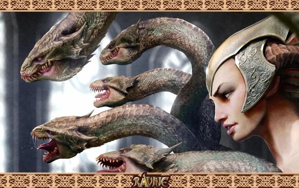 Фото обои Девушка, рога, змеи, шлем