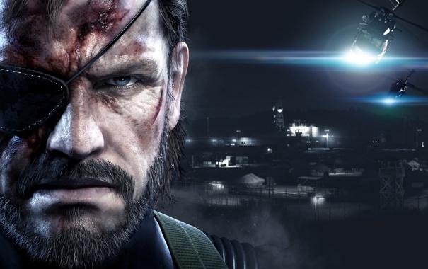 Фото обои Взгляд, Свет, Солдат, Борода, Metal Gear, Вертолёт, База