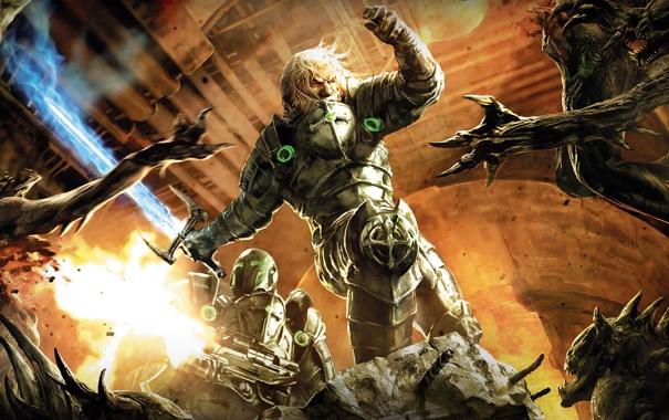 Фото обои воин, монстры, сражение, Hellgate London, с мечом