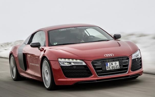 Фото обои красный, Audi, Prototype, суперкар, автомобиль, e-Tron