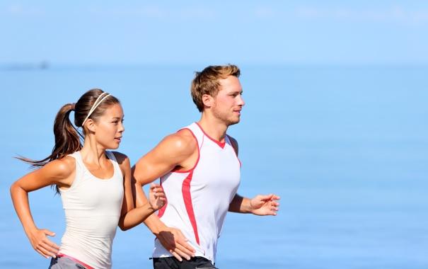 Фото обои water, couple, jogging