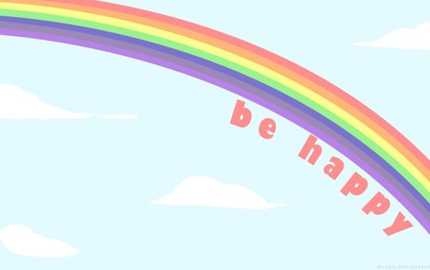 Фото обои цвета, облака, счастье, Радуга, happy, слова