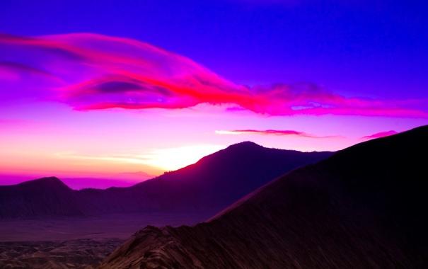 Фото обои закат, облака, небо, зарево, горы, цвет