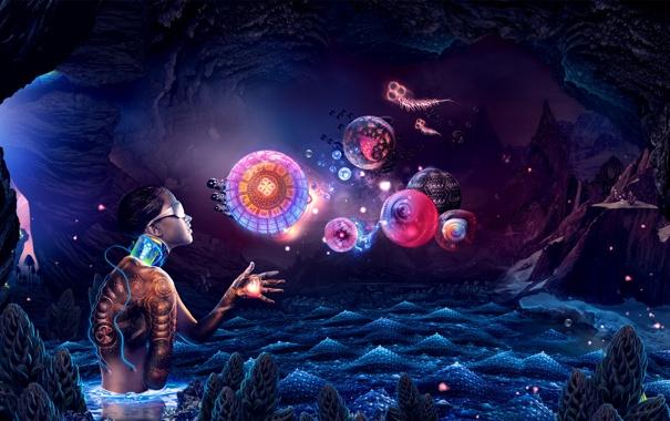 Фото обои существа, девка, космоса, в очках, океана, без руки, глубины