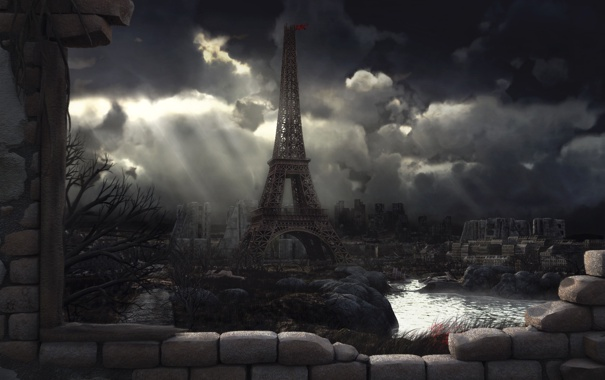Фото обои город, башня, Paris 2048