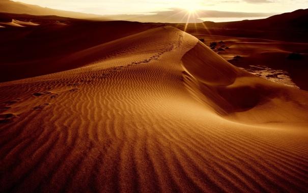 Фото обои песок, небо, солнце, пейзаж, барханы, пустыня, дюны