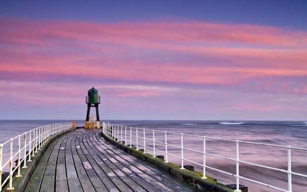 Фото обои море, пейзаж, мост, маяк
