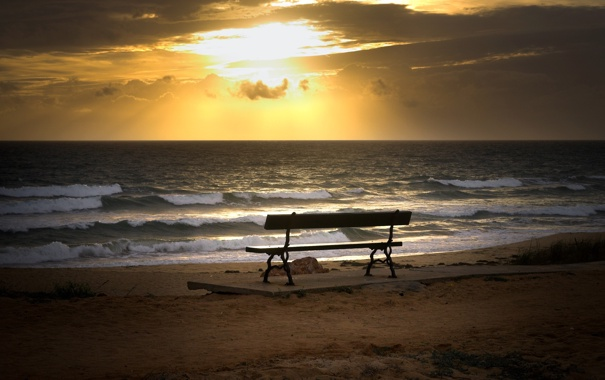 Фото обои песок, скамейка, фото, настроение, берег, пейзажи, вид