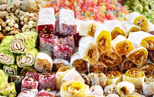 Фото обои сладости, восток, разноцветие