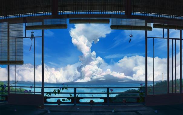 Фото обои море, небо, облака, дом, растение, аниме, арт