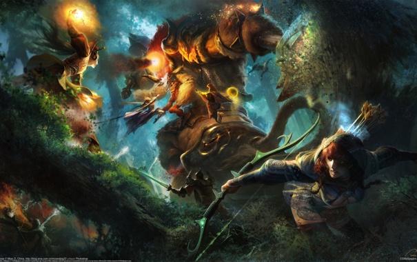Фото обои девушки, магия, монстр, лук, сражение, чудовище, Miao Zi
