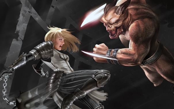 Фото обои девушка, оружие, движение, монстр, арт, битва, Diablo 3