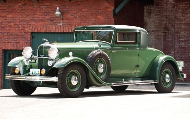 Фото обои Lincoln, фон, купе, зелёный, кирпичи, классика, Coupe