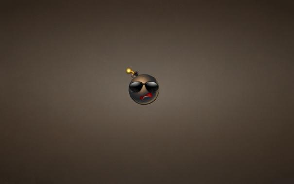 Фото обои бомба, минимализм, фитиль, очки, bomb, темноватый фон