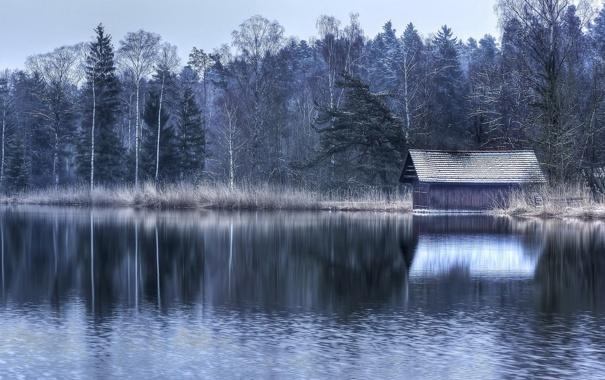 Фото обои пейзаж, озеро, дом