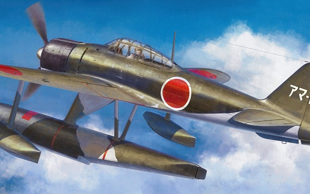Фото обои небо, рисунок, арт, морской, японский, WW2, гидроистребитель