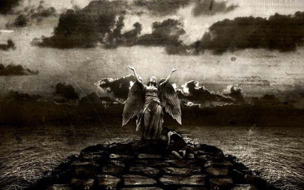 Фото обои небо, девушка, камни, крылья, ангел, царапины, чёрнобелый