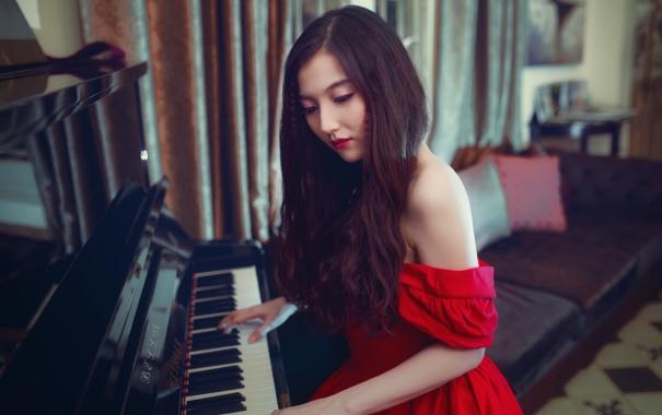 Фото обои музыка, пианино, девушка