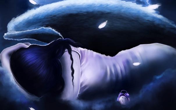 Фото обои девушка, фантастика, волосы, спина, часы, крылья, ангел