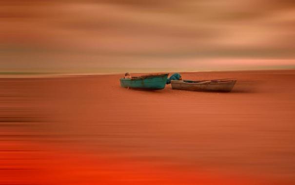 Фото обои берег, лодки, отлив