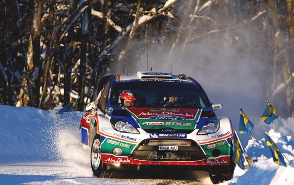 Фото обои Ford, Зима, Авто, Снег, Спорт, Гонка, Капот