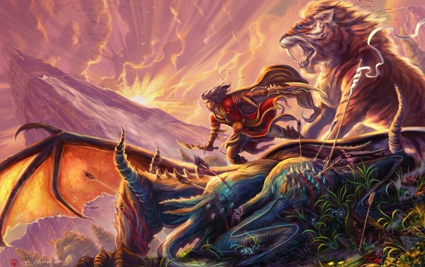 Фото обои тигр, замок, кровь, дракон, башня, меч, лев